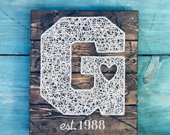 Letter Wall Hanging, String Art, Wood Sign, Custom Rustic Home Decor, Initial String Art, Monogram, Letter with Heart