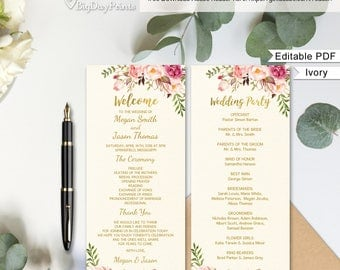 Wedding Program Template, Ivory Ceremony Program Printable, Wedding Program, Boho Chic, #A09, Editable PDF - you personalize at home.