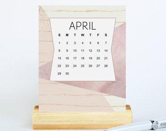 Abstract Desk Calendar 2018 - Small Desktop Zen Calendar With Wood Stand - 2018 Monthly Calendar