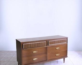 vtg mid century dresser ATOMIC modern  minimalist SPACE AGE mod 6 drawer chest by Basset
