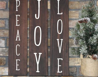 SET of 3, peace joy love wood signs, Rustic Christmas Decoration, Mantle Signs, Farmhouse Christmas, Farmhouse Christmas Sign, Wall Art