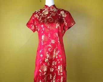 Free SHIPPING Red Short Cheongsam Dress / Qipao Dress / Bright Red Chinese Maxi Dress / Asian Mandarin Dress / Oriental Vintage Dress / XL