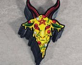 Pizza Baphomet Vinyl Sticker Slap