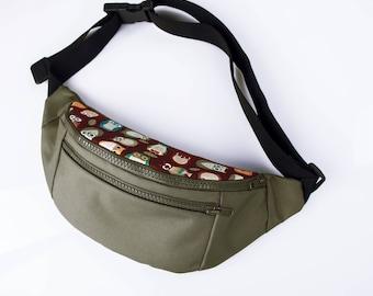 Owl bag, haki hip bag,hip bag, owl belt bag, bum bag,waist bag,belt bag,hip pouch,bags and purses festival bag, festival bag ,camping bag