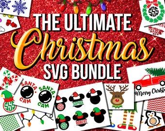 Christmas SVG bundle, Disney svg, Believe svg, santa cam svg, santa elf hat monogram svg, elf svg, SVG bundle, mickey mouse svg, svg files