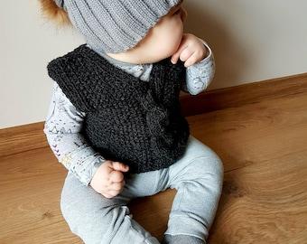 Hand knitted merino wool vest for kid, warm vest with twist, grey knit vest