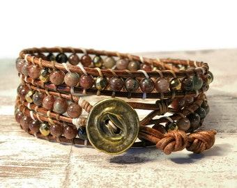Boho Plytto * Garnet Kashgar & Hematite. Mix Bead Wrap Bracelet. Bohemian Jewelry. Semiprecious stones. Gift for her. Cuff Bracelet.