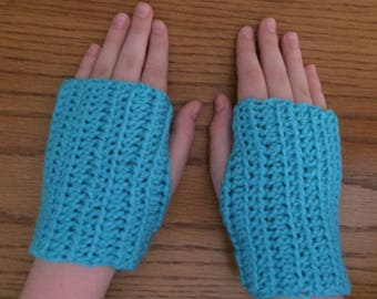 Crochet Fingerless Gloves, Blue, Teal, Wrist Warmers, Texting Gloves, Crochet Gloves, Arm Warmers, Fingerless Mittens, Hippie Boho