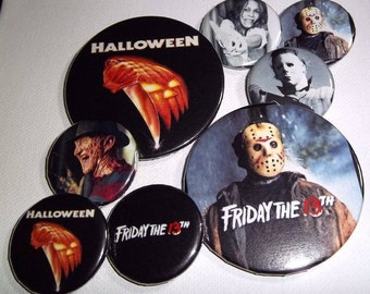 """Horror Pinback Buttons 1.25"""", Choose, Nightmare On Elmstreet, Halloween, Friday the 13th, Leatherface, Pumpkin Head, Tales From The Crypt"""