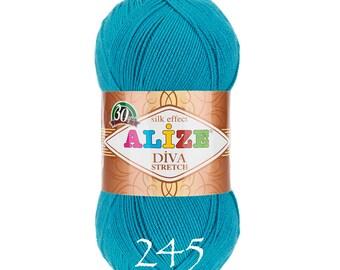 ALIZE DIVA STRETCH elastic yarn hand knit yarn Microfiber acrylic yarn silk effect hand knit crochet summer yarn spring yarn stretch yarn