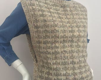 Vintage Shapely Knits Tan Colored Knitted Sweater Vest with Button Closure (3) on Both Sides of Waist/Size M