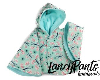 Size 2 seafoam butterfly fleece car seat poncho - ready to ship - winter kids children poncho -coat -  12-24 months - toddler cape