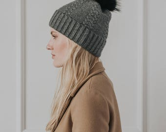 Cashmere Cable Knit Hat//Faux Fur Pom Pom//Dark Grey Hat// Dark Grey Colour