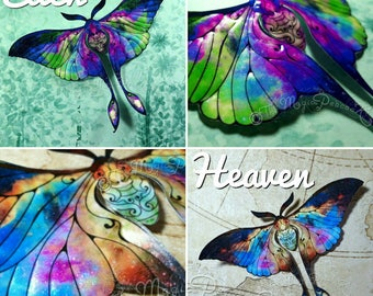 Cosmic Moon Moth, Luna Moth, Embossed 3D Acetate wall decal/decoration