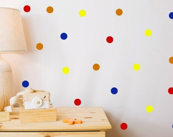 60 Colourful Polka Dot Wall Stickers