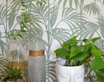 Vintage flower pot white ceramic head - white ceramic face head planter