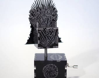 Game of Thrones Music Box - Dragonglass Iron Throne / Main Theme /  Laser cut and laser engraved wood music box. Perfect gift or collectible
