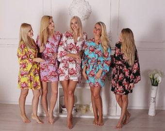 Set of 8 Bridesmaid Floral Robe, Bridesmaid Gift, Bridal Party Gift, Floral Kimono robe, Bridesmaid Cotton Robe, Cotton Floral Robe