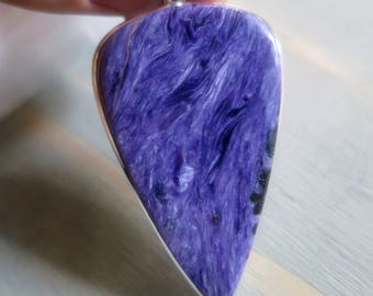 Large inverted teardrop Purple Chaorite pendant in Sterling Silver