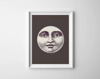 Moon Print, Moon Art, Vintage Moon, Antique Moon, Man in the Moon, Moon Decor, Lunar Print, Moon Printable, Printable Art, Instant Download