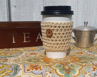 Vanilla Latte Crochet Cup Sleeve - Neutrals Button Everyday Cup Sleeve