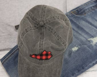 Charcoal Kentucky Hat with Plaid Applique..Western Kentucky University..WKU..UK..Louisville..UofL..Gameday..Back To School..Tailgate