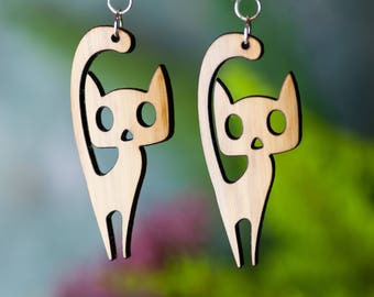 Bamboo Cat Earrings - Silver Plated