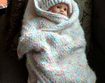 Super Soft White & Pastel Baby Blanket and Hat