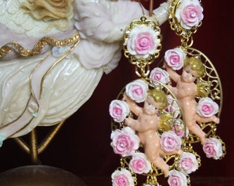 Baroque Rococo Hand Painted Pink  Dangled Flowers Winged Cherub Angel Studs Earrings