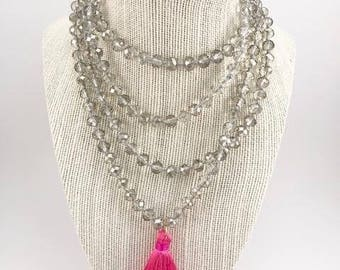 Hot Pink Tassel x Champagne Crystal Sparkle Beads