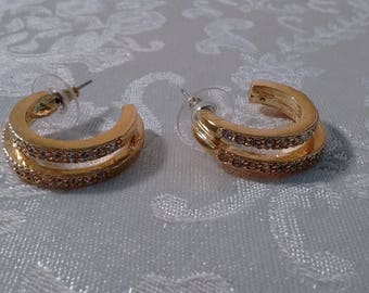 GOLD-RHINESTONE ROMAN Brand Earrings-