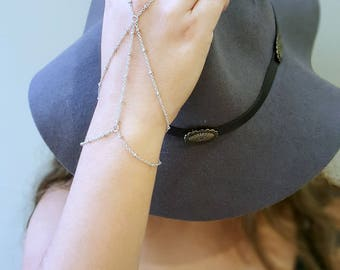 Silver Hand Chain, Bohemian Hand Piece, Slave Bracelet,  Boho Triangle Hand Accessory, Satellite Chain Bracelet, Statement Bracelet,
