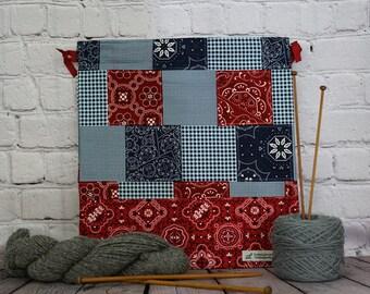 Bandana print bag,  Knitting Project Bag, Crochet Project Bag, Yarn Bag, Fiber Project Bag, Sock knitting bag, Shawl project bag