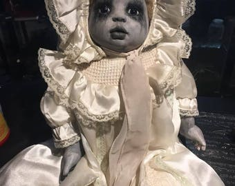 Gothic crying baby shadow doll handmade
