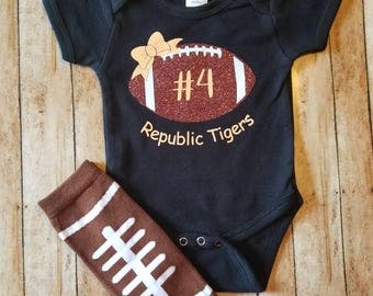 Glitter football bodysuit/shirt! Show your support for your favorite football player!!! Custom colors to match team mascot! Personalized!