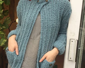 Forget Me Not Alpaca Cardigan, blue, handmade knitted