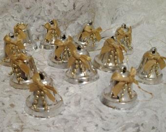 Twelve Plastic Silver Bells Christmas Ornaments