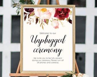 Unplugged Ceremony Sign, Unplugged Wedding Printable, Unplugged Wedding Sign, Printable Weddin Sign, No Pones Sign, Floral Wedding, #B510
