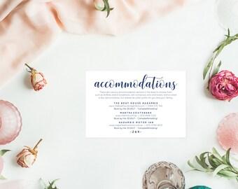 Wedding template navy, Navy accommodation card, Editable wedding template, Wedding enclosure cards, Wedding template printables
