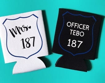 Police Officer Can Coolers | Police Wife | Police Gift | Badge Number |