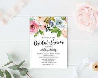 Watercolor Bridal Shower invitation, Bridal shower invitation, Rustic bridal shower invitation, Floral Bridal Shower - US_BI1209