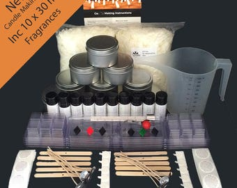 New Ultimate Soy Wax Candle Making Kit inc 10 x 30ml Fragrances