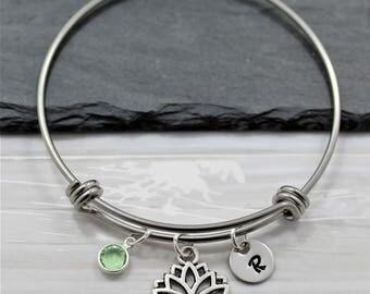 Lotus Flower Bracelet - Personalized Birthstone & Initial - Yoga Themed Gift Idea for Women - Lotus Flower Jewelry - Yoga Bracelet for Her