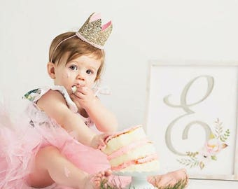 Glitter Crown Princess Birthday Party Hat || Dress Up Make Believe Girls Gift || Pale Gold + Pink Pom Pom Trim