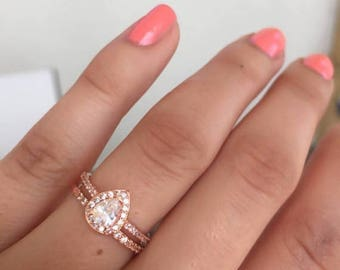 ONSALE Rose gold rings -Vintage look weddingset -Deco rings-Diamond CZ rings- Sterlng silver Halo Engagement Ring-CZ Teardrop  ring