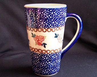 Boleslawiec Polish Pottery Tall Mug, Jankiewicz Boleslawiec Mug, Made in Poland