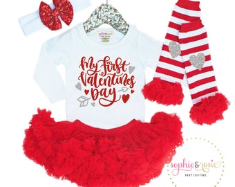 First Valentine's Day Outfit, 1st Valentine's Day Girl, Girls Valentine's Day Shirt, 1st Valentine's Day Outfit