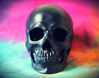 Hand Painted Matte Black Realistic Faux Human Skull Replica with Removable Jaw