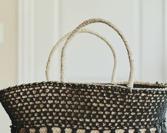 Black Crochet Beach Bag