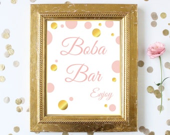 Boba Bar Sign ~ Pink Gold Bridal Shower ~Polka Dot Shower ~ Party Printable Sign GldBridal20